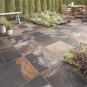 Abbey Black Multi Outdoor Porcelain 600x600 - P10825