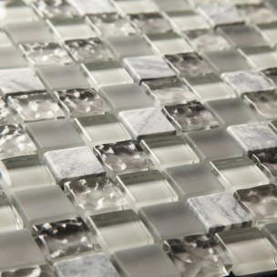 Silver Marble & Glass 23mm - Mosaic Sheet 6571