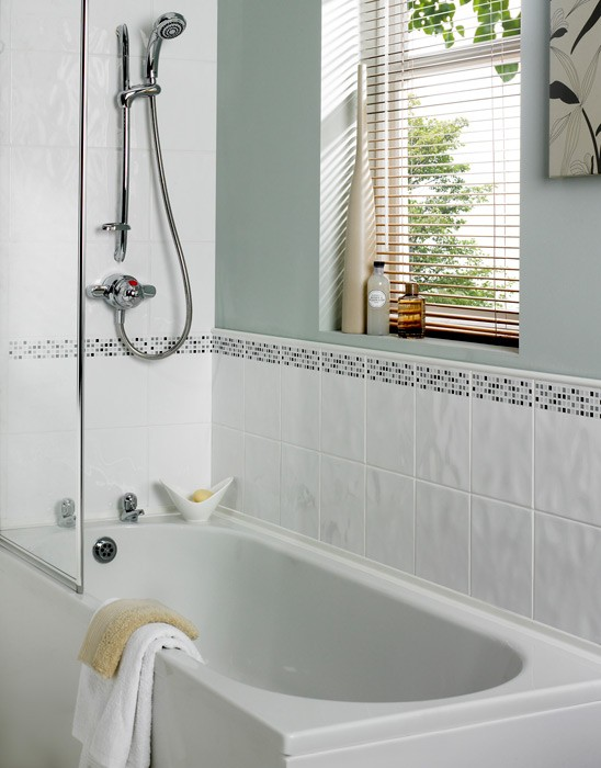 Dimensions 400x250 White Relief Wall Tile 1269