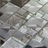 Saturn Silver Glass / Metal Mix Modular - Mosaic Sheet G30141