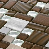 Brushed Metal Diamond Brown/Bronze - Mosaic Sheet 11179PK10